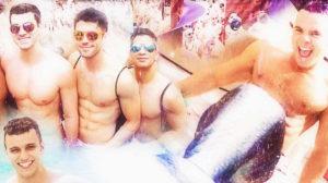 purple party pool gay shirtless guys